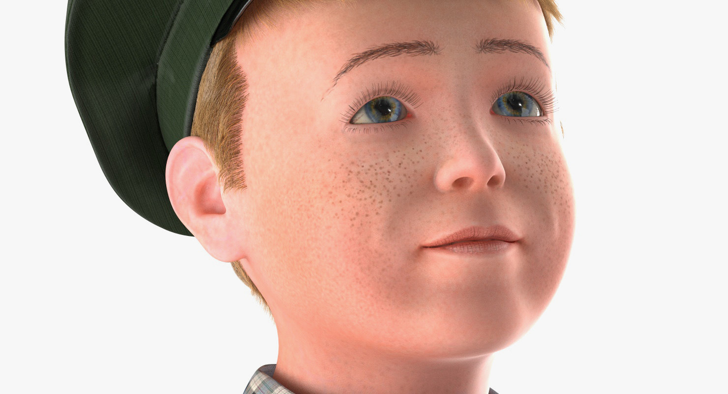 kid face expression 3d model rigged