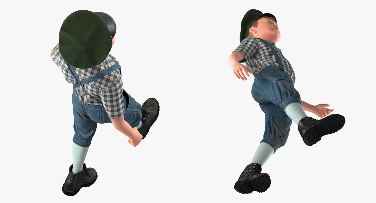 handsome kid walking 3d model rigged