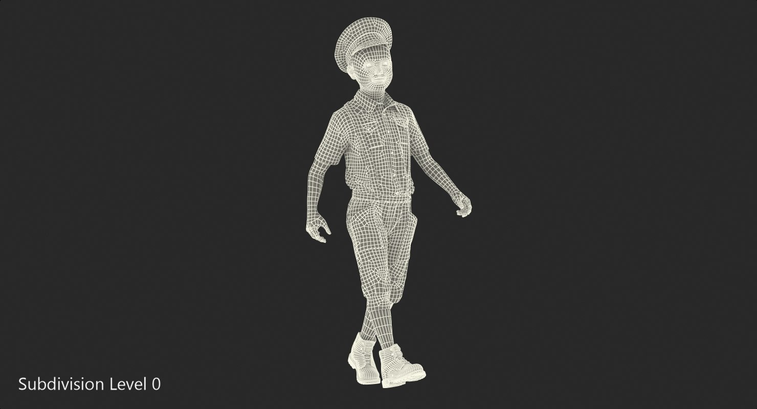 boy with vintage clothes 3d model rigged