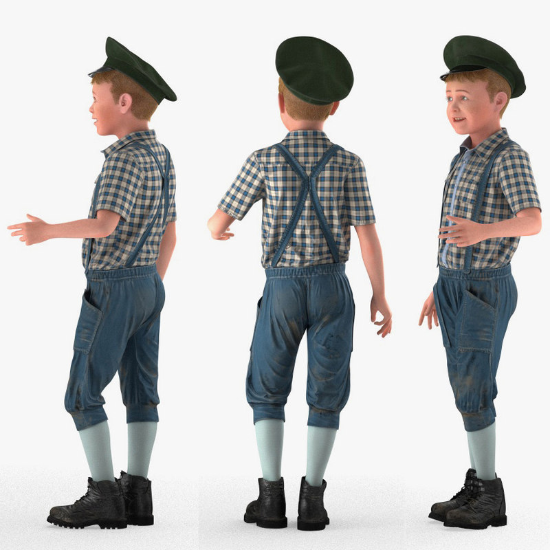 realistic child boy rigged for Maya 3d model