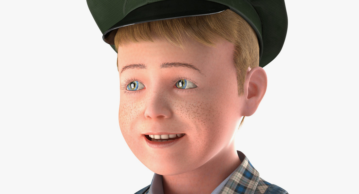 childs face close up 3d model rigged