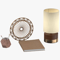 desk decor set 02 3D model