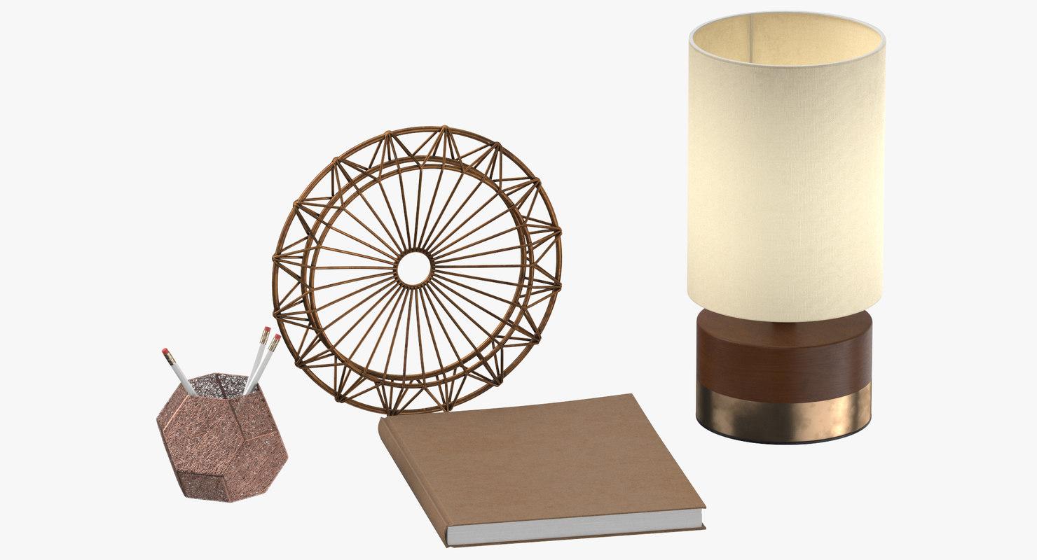 desk decor set 02 3D model