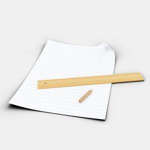 3D paper pencil ruler