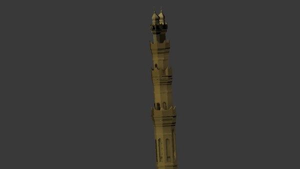 minaret mosque egyptian style 3D model