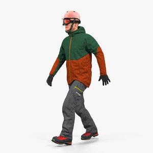 snowboarder winter sports gear 3D model