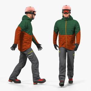 3D snowboarder winter sports gear