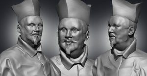 3D sculpture male-head bust cardinal model