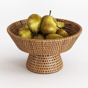 3D model rattan fruit bowl