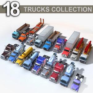 3D 18 semi trucks model
