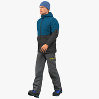 winter men sportswear rigged 3D