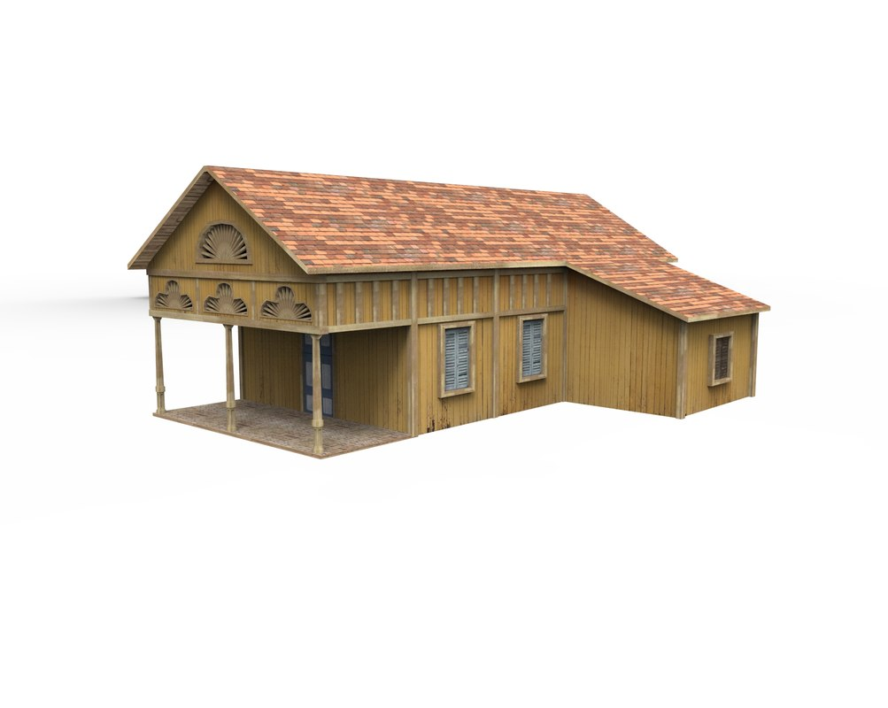 medium caribbean wooden house 3D model