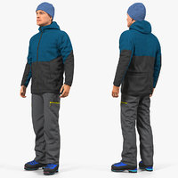 winter men sportswear rigged 3D model