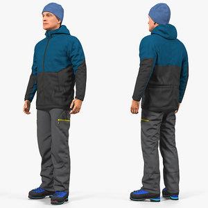 winter men sportswear rigged 3D model
