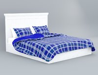 3D classic white wooden bed