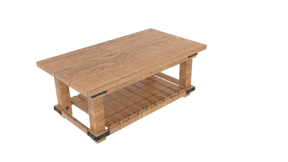 3D cameron coffee plank table model
