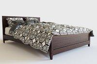 realistic wood bed interior 3D model