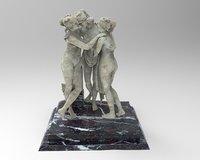 Statue Sculpture Three Nude-Woman Graces