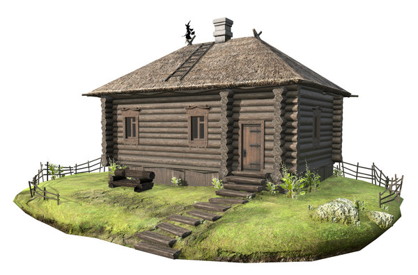 wooden house thatched roof model