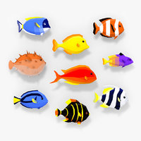 3D style reef fishes model