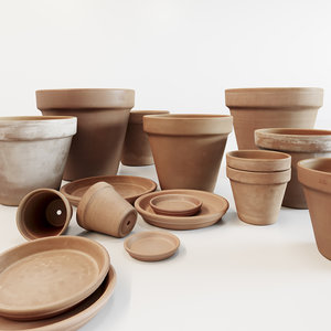 corona terracotta pot set 3D model
