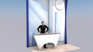 exhibition counter stand 2m 3D model
