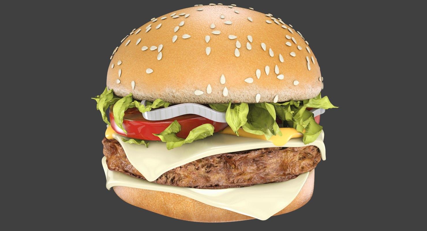 hamburger meat bread 3D model