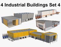 4 Industrial Buildings Set 4