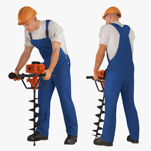 builder worker hole driller 3D model