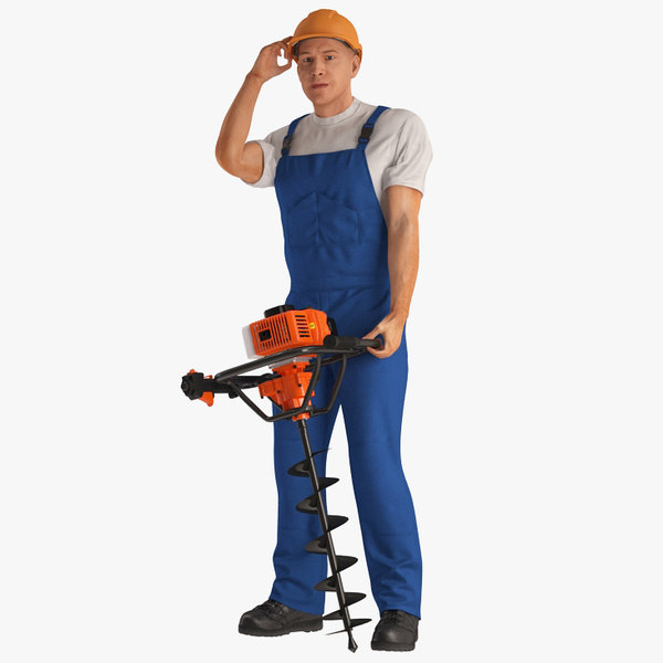3D model builder worker hole driller