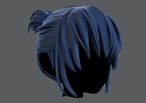 3D model hair style girl v35