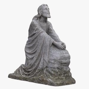 jesus praying statue 3D model