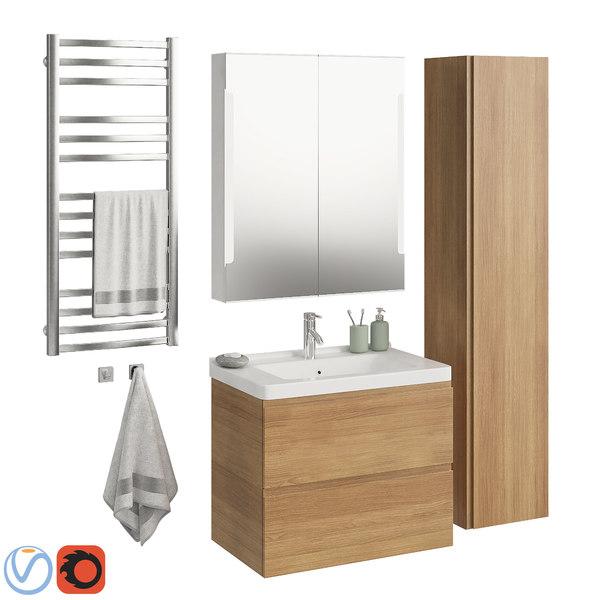 Set Ikea Morgon 3d Turbosquid 1324105, Ikea Bathroom Sets