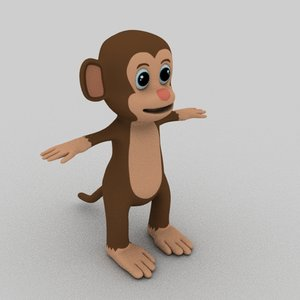 3D monkey cartoon animation model