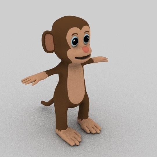 3D monkey cartoon animation model