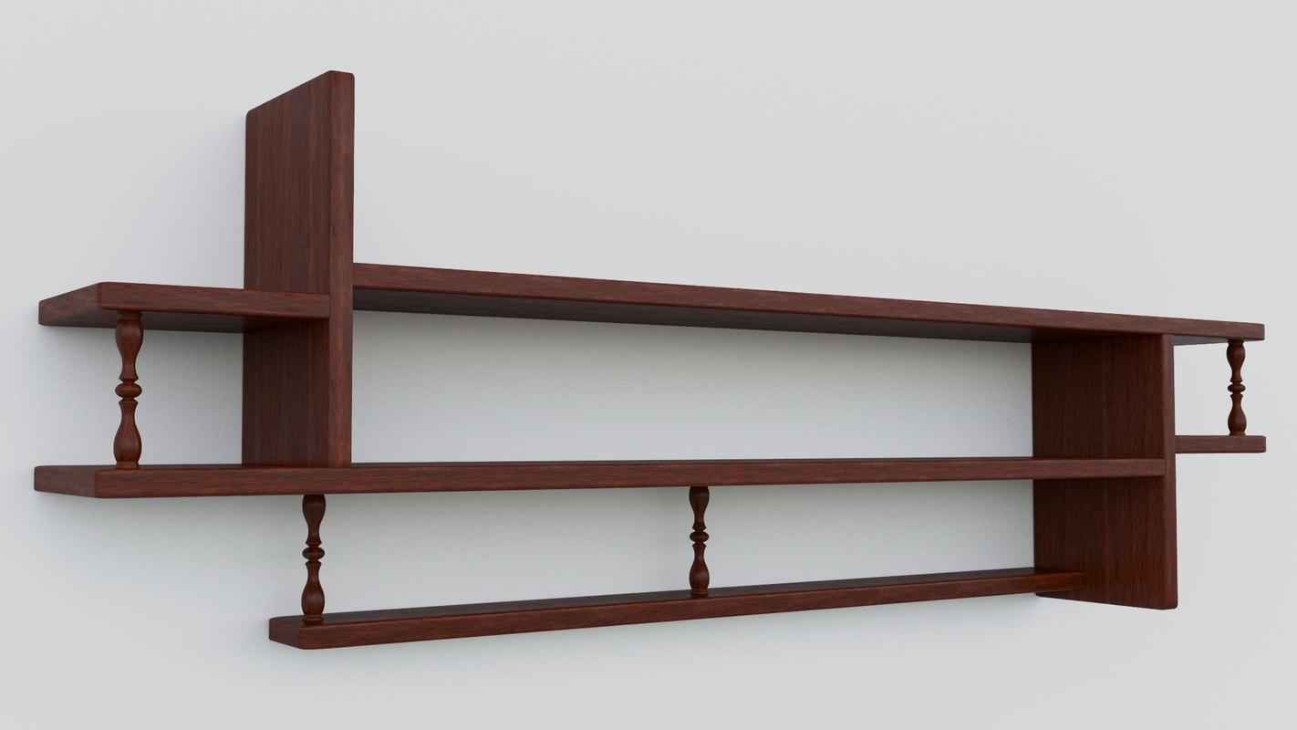 shelf wood 3D