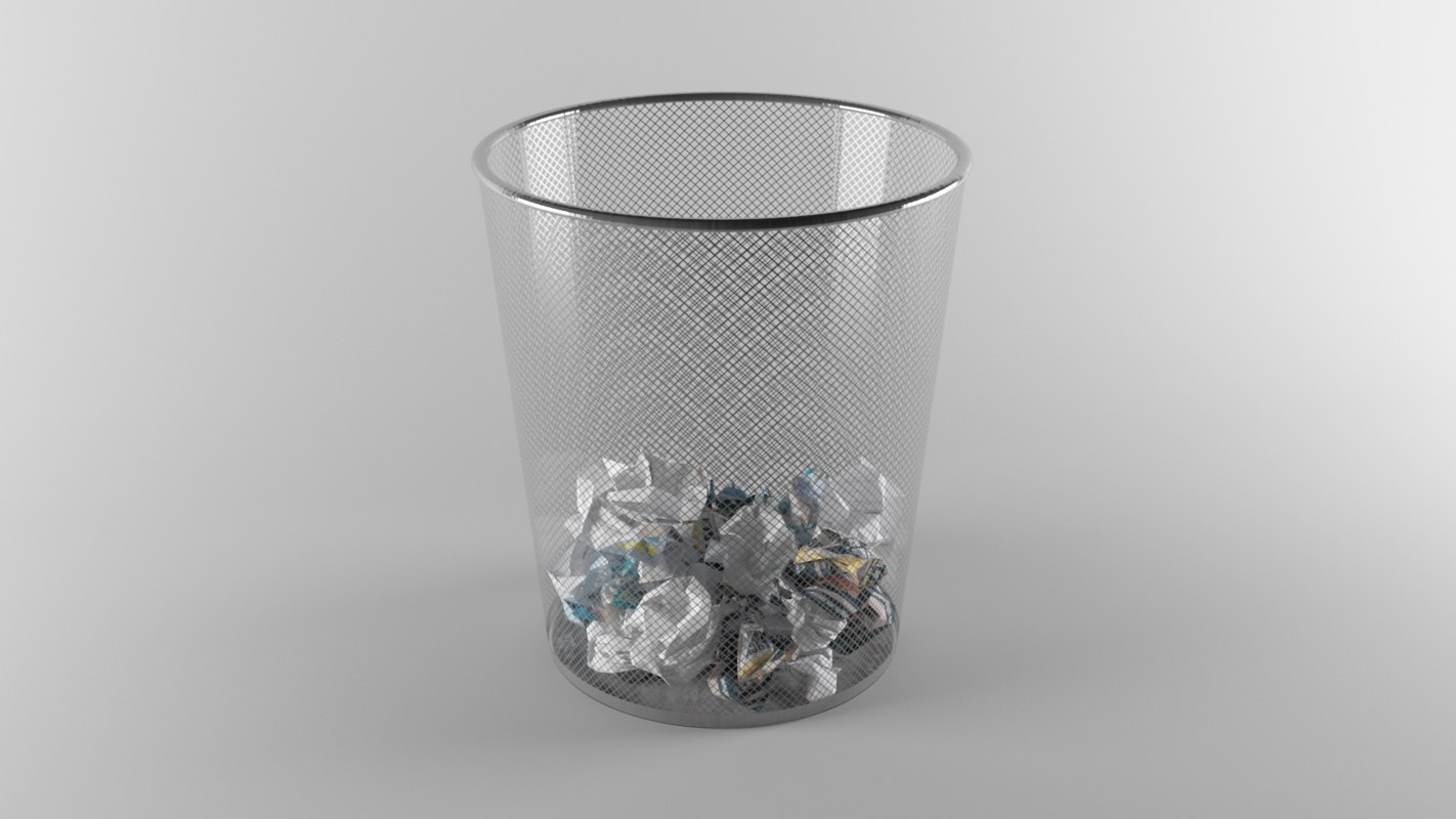 3D model crumpled paper trash
