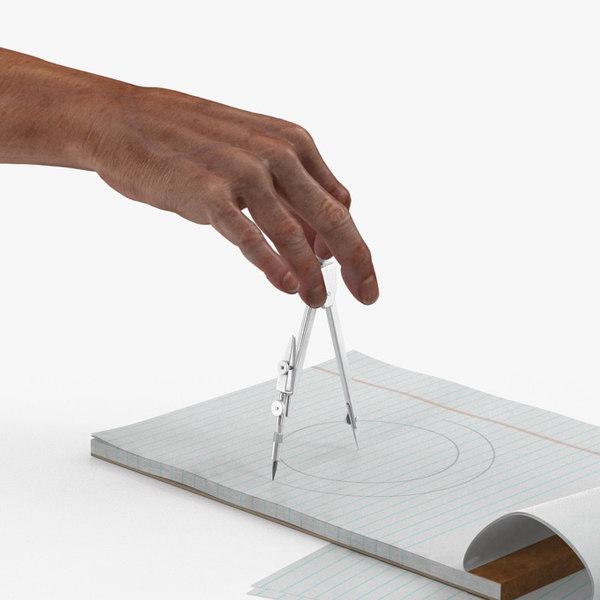 3D compass circle drawing hand