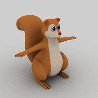 3D squirrel cartoon animation model