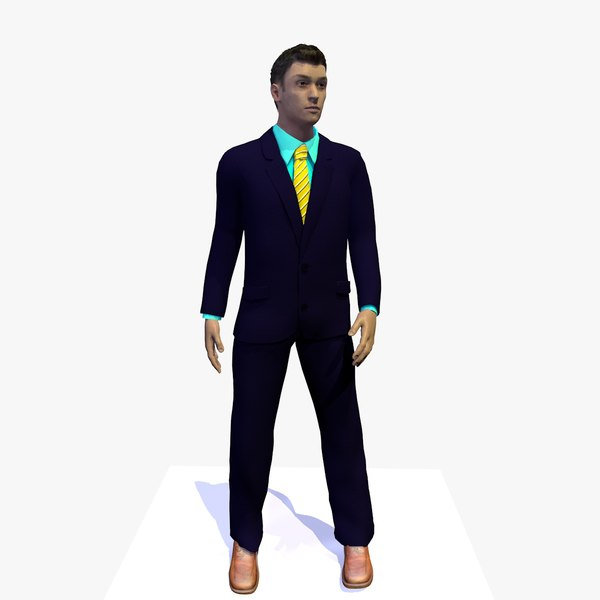 3D business man standing idle