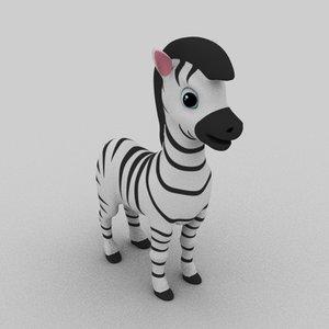 zebra cartoon animation 3D model