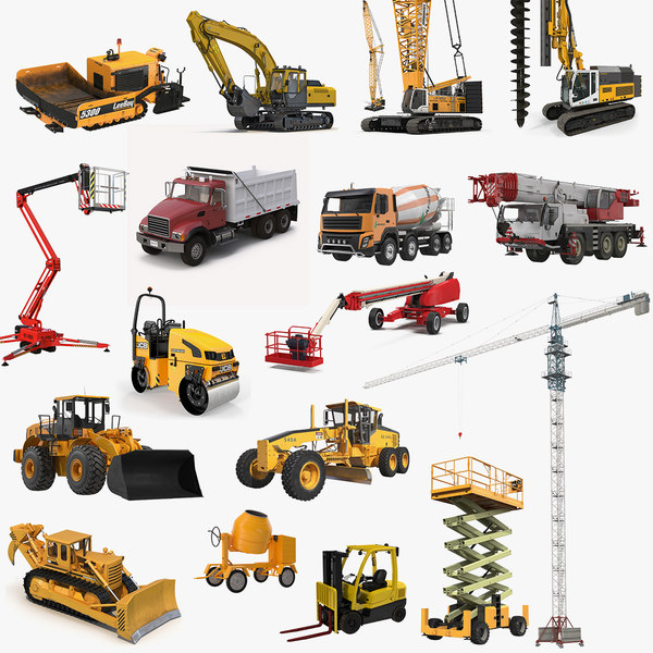 3D construction vehicles big model