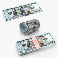 new 100 dollar bills 3D model