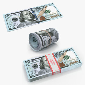 new 100 dollar bills 3D model