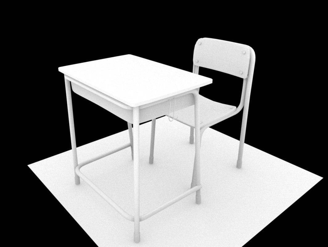 3D model school desk chair