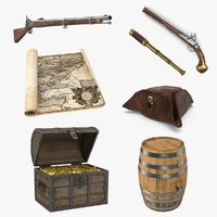Pirate Treasure 3D Models Collection