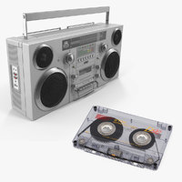 3D portable boombox cassette model