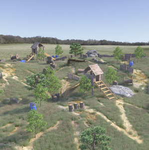 3D model paintball field forest