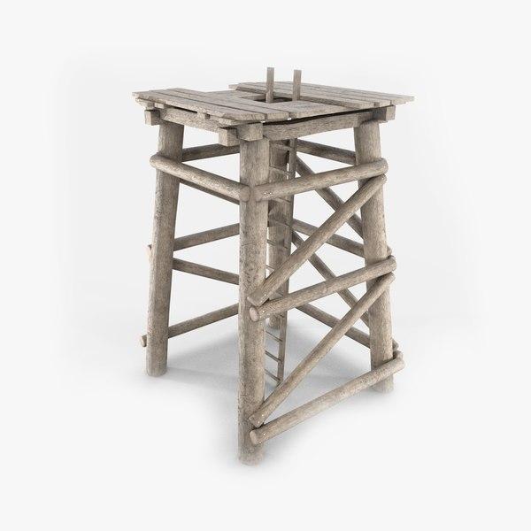 3D model wooden tower