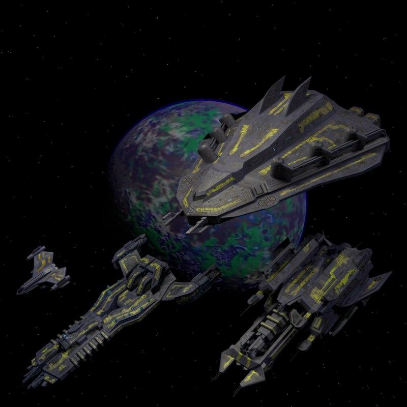 3D spaceships planet model